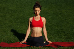 Yoga Woman. Woman practices yoga in nature Stock Image