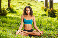 Yoga woman practicing Royalty Free Stock Photography