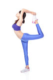 Yoga woman raise her leg Stock Photo
