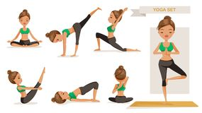Yoga woman. Set. many views yoga exercise. front, side, rear, yoga of beautiful cartoon. cute girl in a fitness suit. Healthy lifestyle concept, illustrations vector illustration