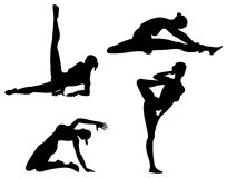 Yoga woman, silhouette Stock Photography