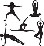Yoga woman silhouette collection. Royalty Free Stock Images