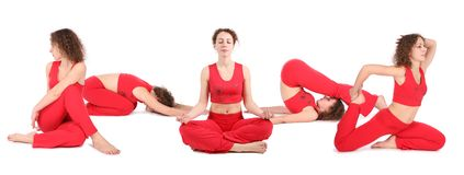 Yoga woman sit group Stock Photography