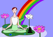 Yoga woman. Sitting on lotus leaf in a pond stock illustration