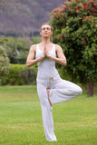 Yoga woman standing on one leg in park Stock Photo