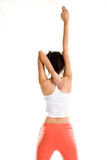Yoga woman stretch hand straight Royalty Free Stock Photos