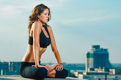 Yoga woman stretching Royalty Free Stock Photo