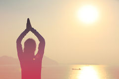 Yoga woman sunrise Royalty Free Stock Photo