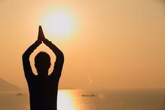 Yoga woman sunrise Royalty Free Stock Image