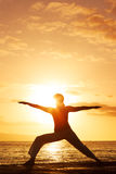 Yoga Woman at Sunset Stock Photography