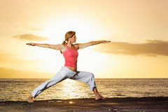 Yoga Woman at Sunset Stock Image