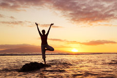 Yoga Woman at Sunset Stock Photos