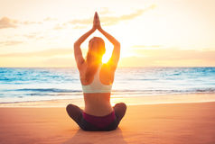 Yoga Woman at Sunset Stock Photo