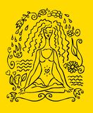 Yoga woman tattoo fake card. Emblem, icon. Yellow background royalty free illustration