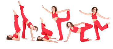 Yoga woman training, group of six. Royalty Free Stock Photo