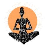 Yoga woman. Typography poster Stock Image