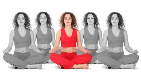 Yoga woman with white black clones collage Royalty Free Stock Image