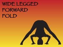 Yoga Woman Wide Legged Forward Fold Pose. A yoga woman performing wide legged forward fold pose on a colourful background Stock Image