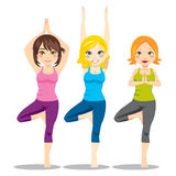 Yoga Women. Three attractive women exercising yoga tree asana posture standing on one leg Royalty Free Illustration