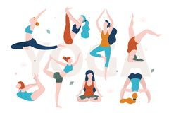 Yoga for women with any shape. Slim and overweight women doing yoga in different poses vector flat illustration isolated. On white background stock illustration