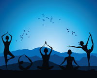 Yoga women figure. Stock vector Stock Photography