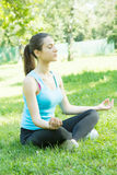 Yoga women meditating outdoor Stock Photography