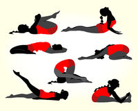 Yoga women silhouette Royalty Free Stock Images