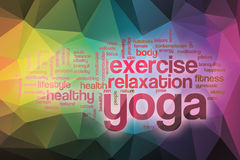 Yoga word cloud with abstract background Royalty Free Stock Photos