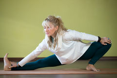 Yoga workout indoors Stock Image