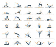 Yoga workout for men set. Royalty Free Stock Photography