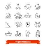 Yoga workout and wellness program. Icons set. Yoga workout and wellness program. Thin line art icons set. Recreation center, ayurvedic spa therapies, health Royalty Free Stock Image