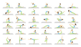 Yoga workout for women set. Yoga workout for women set on white background. Different poses and asanas Stock Image