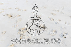 Yoga worldwide: person sitting in lotus position above the world Stock Images
