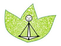A schematic human yogi in the lotus position asana against the background of green leaves. Vector. stock illustration