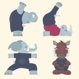 Yoga y animales ilustración del vector