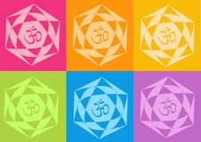 Yoga yantras flowers. Computer generated clipart Royalty Free Stock Image