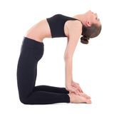 Yoga - young beautiful woman in camel pose isolated on white Royalty Free Stock Images