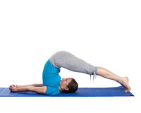 Yoga - young beautiful woman doing excerise Royalty Free Stock Photos