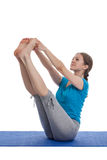 Yoga - young beautiful woman doing yoga asana excerise isolated Stock Photo