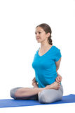 Yoga - young beautiful woman doing yoga asana excerise isolated Stock Images