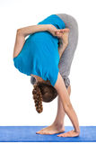 Yoga - young beautiful woman doing yoga asana excerise isolated Stock Photo