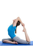 Yoga - young beautiful woman doing yoga asana excerise isolated Royalty Free Stock Photo