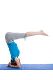 Yoga - young beautiful woman doing yoga asana excerise isolated Stock Photos