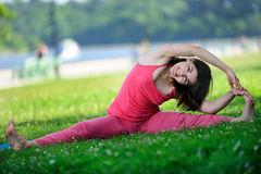 Yoga. Young girl goes in for sports. Stock Image