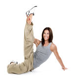 Yoga. Young girl goes in for sports. Royalty Free Stock Image