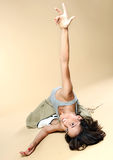 Yoga. Young girl goes in for sports. Royalty Free Stock Photos