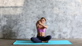 Young woman exercising. Warm up. stock footage