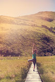 Yoga with young woman in the nature Stock Photos
