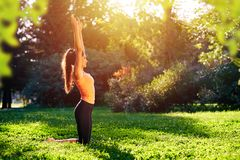 Yoga. Young woman practicing yoga or dancing or stretching in nature at park. Health lifestyle concept royalty free stock images