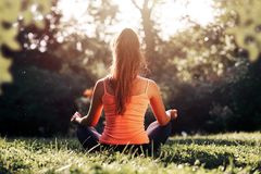 Yoga. Young woman practicing yoga or dancing or stretching in nature at park. Health lifestyle concept stock photos